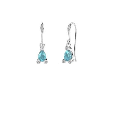 Picture of Drop earrings Bunny 2 950 platinum blue topaz 7x5 mm