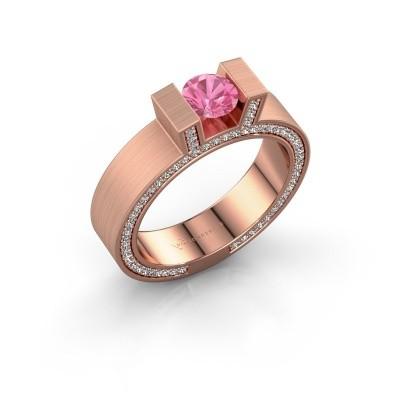 Foto van Ring Leena 2 375 rosé goud roze saffier 5 mm