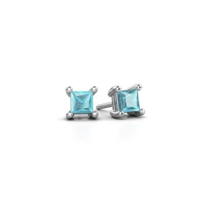 Picture of Stud earrings Sam square 925 silver blue topaz 4 mm