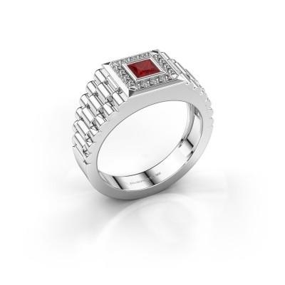 Foto van Rolex stijl ring Zilan 585 witgoud robijn 4 mm