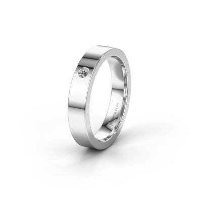 Trouwring WH0101L14BP 585 witgoud diamant ±4x1.5 mm