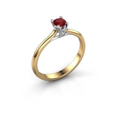 Foto van Verlovingsring Isa 1 375 goud robijn 4 mm