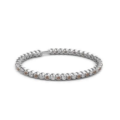 Foto van Tennisarmband Asley 585 witgoud bruine diamant 4.40 crt