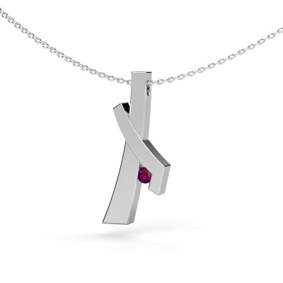 Picture of Pendant Alyssa 585 white gold rhodolite 2.7 mm
