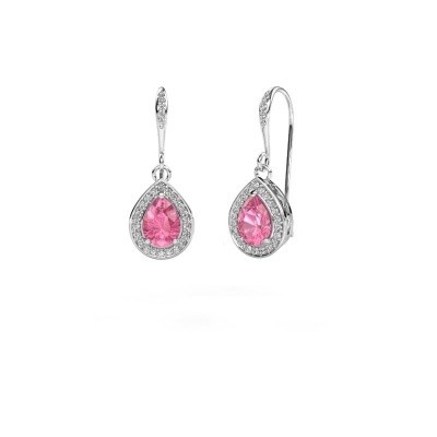 Picture of Drop earrings Beverlee 2 585 white gold pink sapphire 7x5 mm