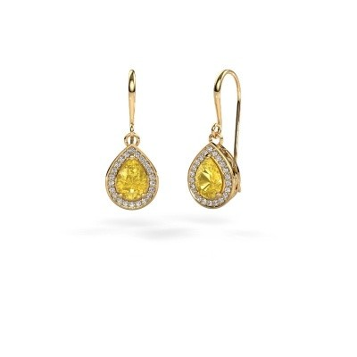 Picture of Drop earrings Beverlee 1 750 gold yellow sapphire 7x5 mm