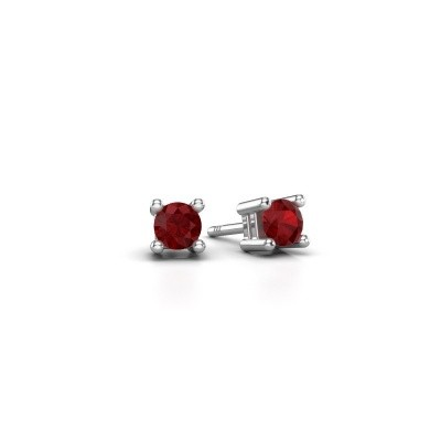 Picture of Stud earrings Eline 585 white gold ruby 4 mm