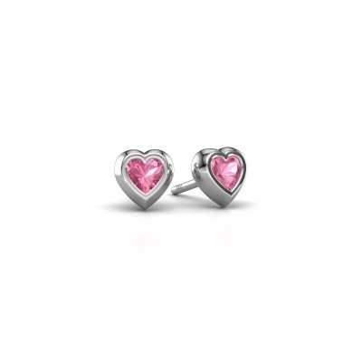 Picture of Stud earrings Charlotte 925 silver pink sapphire 4 mm