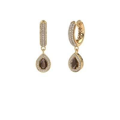 Picture of Drop earrings Barbar 2 585 gold smokey quartz 6x4 mm