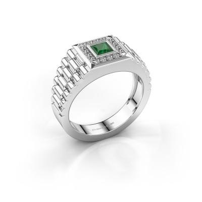 Foto van Rolex stijl ring Zilan 585 witgoud smaragd 4 mm