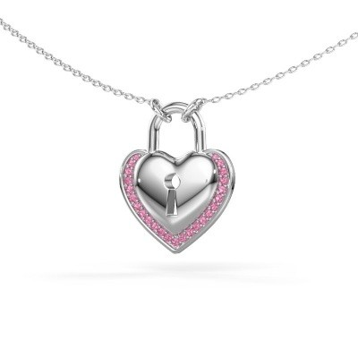 Foto van Halsketting Heartlock 375 witgoud roze saffier 1 mm