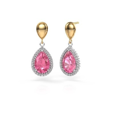 Picture of Drop earrings Cheree 1 585 white gold pink sapphire 12x8 mm