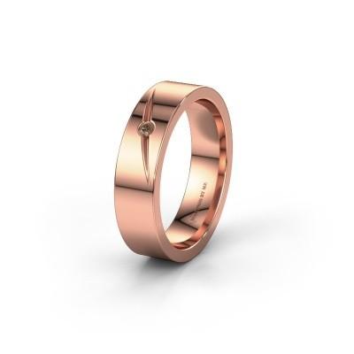 Trouwring WH0170L15A 585 rosé goud bruine diamant ±5x1.7 mm