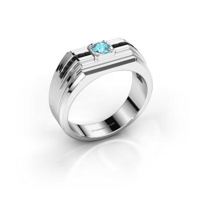 Foto van Heren ring Oliver 950 platina blauw topaas 4 mm