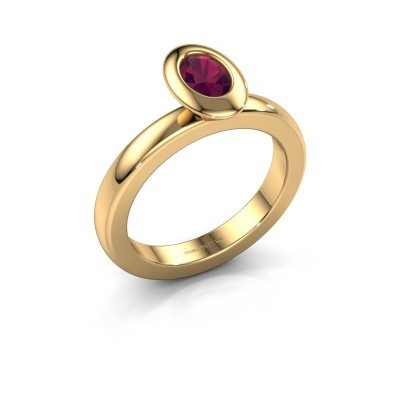Stapelring Trudy Oval 585 goud rhodoliet 6x4 mm