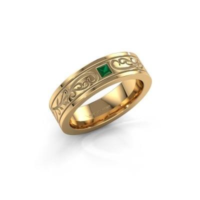 Foto van Heren ring Matijs 750 goud smaragd 3 mm