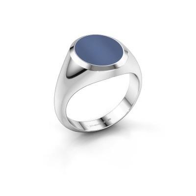 Zegelring Herman 3 585 witgoud blauw lagensteen 13x11 mm