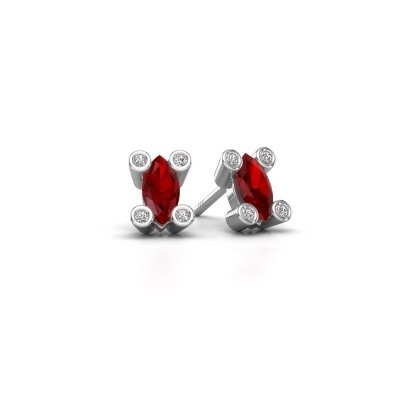 Picture of Stud earrings Cornelia Marquis 585 white gold ruby 7x3 mm