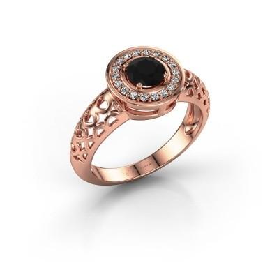 Foto van Ring Katalina 375 rosé goud zwarte diamant 0.72 crt
