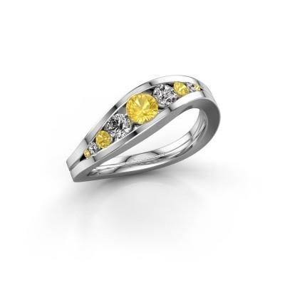 Foto van Ring Sigrid 2 925 zilver gele saffier 4 mm