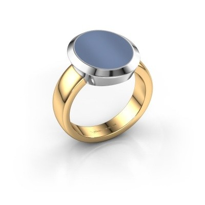Zegelring Oscar 4 585 goud Licht blauwe lagensteen 15x12 mm