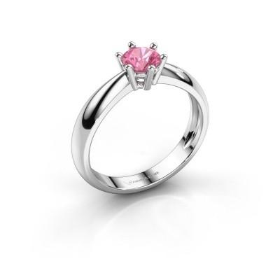 Foto van Verlovingsring Fay 950 platina roze saffier 5 mm