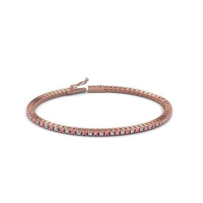 Foto van Tennisarmband Simone 750 rosé goud roze saffier 2 mm