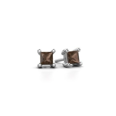 Picture of Stud earrings Sam square 925 silver smokey quartz 4 mm