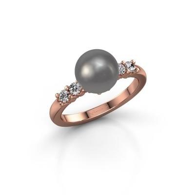 Foto van Ring Cecile 375 rosé goud grijze parel 8 mm