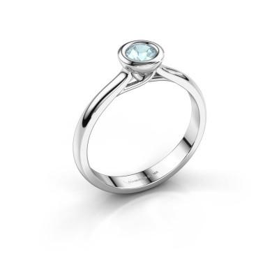 Foto van Verlovings ring Kaylee 585 witgoud aquamarijn 4 mm