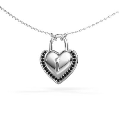 Picture of Necklace Heartlock 925 silver black diamond 0.138 crt