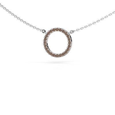 Picture of Pendant Circle 585 white gold brown diamond 0.18 crt