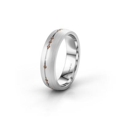 Trouwring WH0166L25A 950 platina bruine diamant ±5x1.7 mm