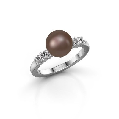 Foto van Ring Cecile 585 witgoud bruine parel 8 mm