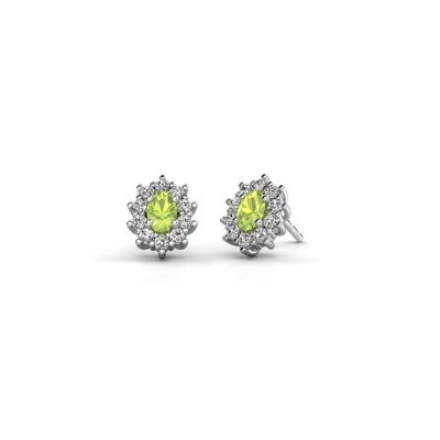 Picture of Earrings Leesa 585 white gold peridot 6x4 mm