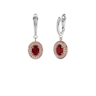 Picture of Drop earrings Layne 2 585 rose gold ruby 7x5 mm