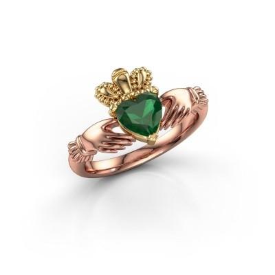 Foto van Ring Claddagh 2 585 rosé goud smaragd 6 mm