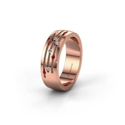 Trouwring WH0134L26B 585 rosé goud robijn ±6x2 mm