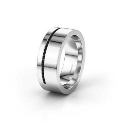 Trouwring WH0143L17BP 925 zilver zwarte diamant ±7x2 mm