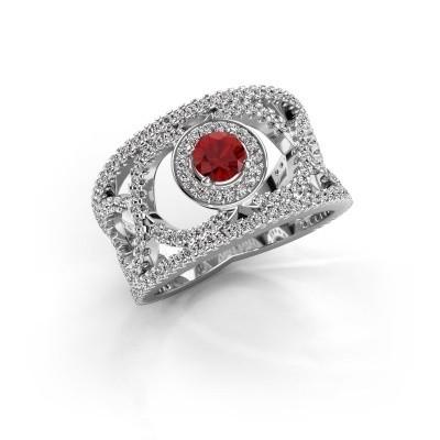 Foto van Ring Regina 925 zilver robijn 4.2 mm