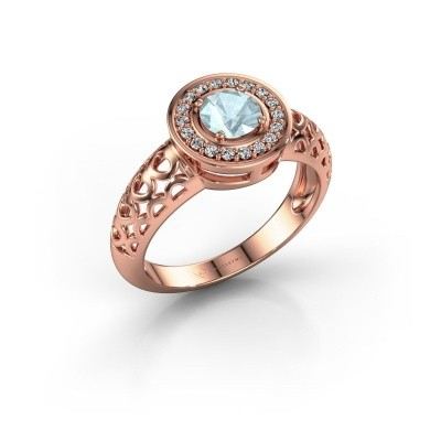 Foto van Ring Katalina 375 rosé goud aquamarijn 5 mm