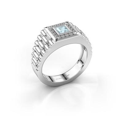 Foto van Rolex stijl ring Zilan 950 platina aquamarijn 4 mm
