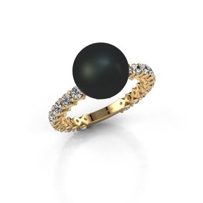 Foto van Ring Nele 375 goud zwarte parel 9 mm