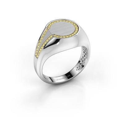 Foto van Heren ring Gijs 950 platina gele saffier 1 mm