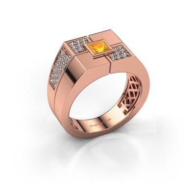 Foto van Heren ring Rogier 585 rosé goud citrien 4 mm