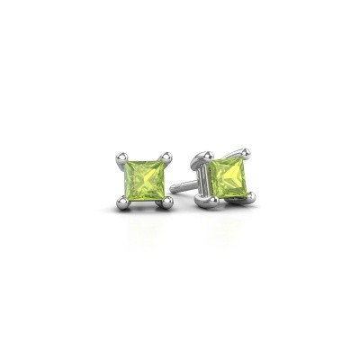 Picture of Stud earrings Sam square 925 silver peridot 4 mm