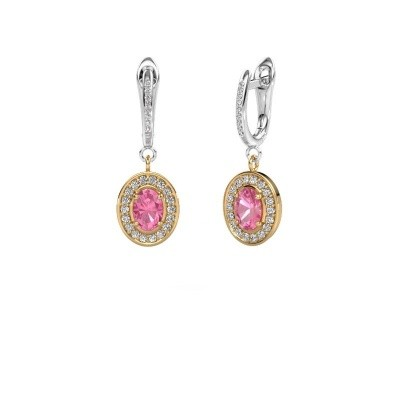 Picture of Drop earrings Layne 2 585 gold pink sapphire 7x5 mm