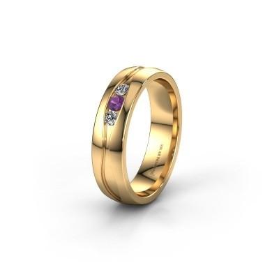 Trouwring WH0172L25A 375 goud amethist ±5x1.7 mm