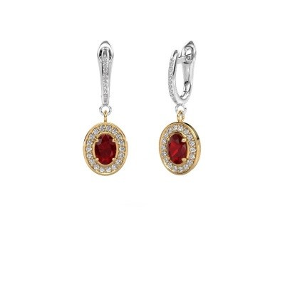 Picture of Drop earrings Layne 2 585 gold ruby 7x5 mm