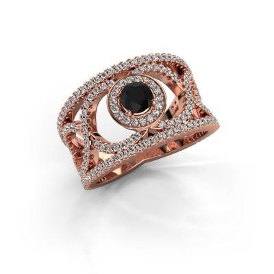 Foto van Ring Regina 375 rosé goud zwarte diamant 1.31 crt